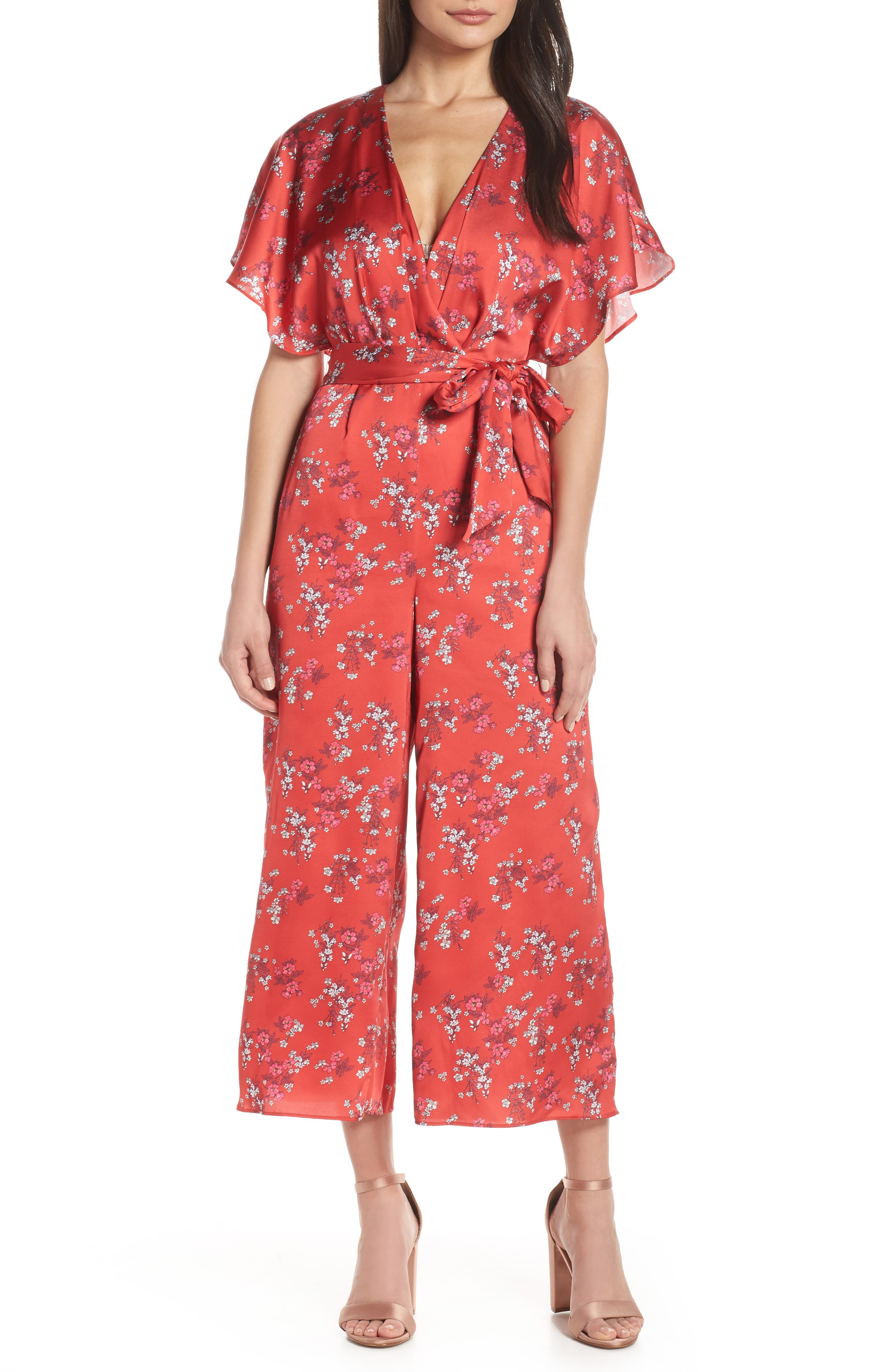 Stop Me Wrap Jumpsuit, Main, color, SMALL RED FLORAL