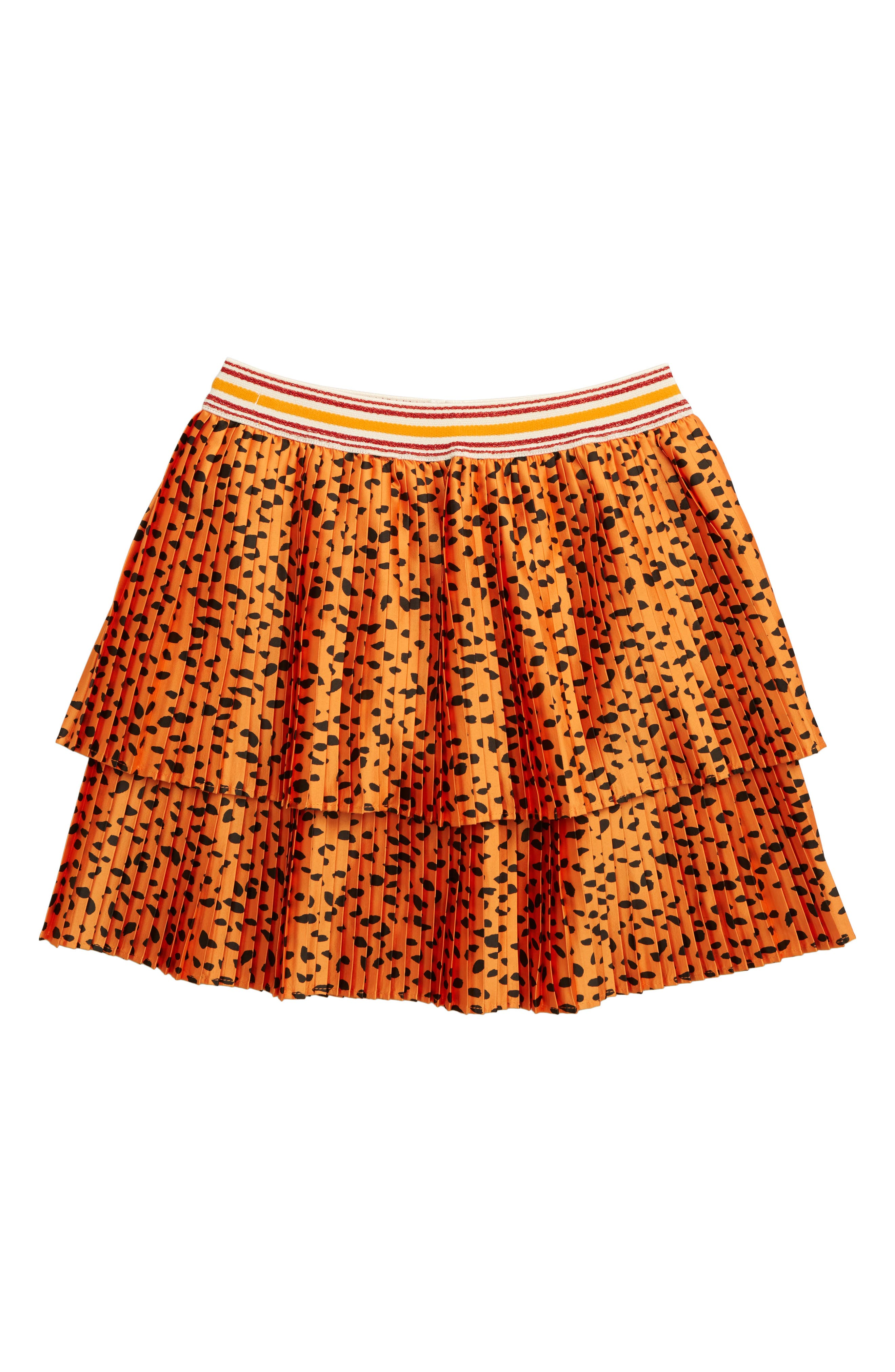 ,                             Double Layer Pleated Skirt,                             Main thumbnail 1, color,                             LEOPARD PRINT
