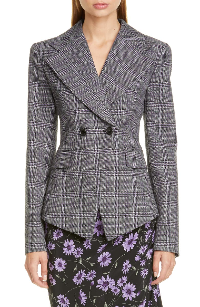 MICHAEL KORS COLLECTION Michael Kors Cutaway Double Breasted Jacket, Main, color, DAHLIA