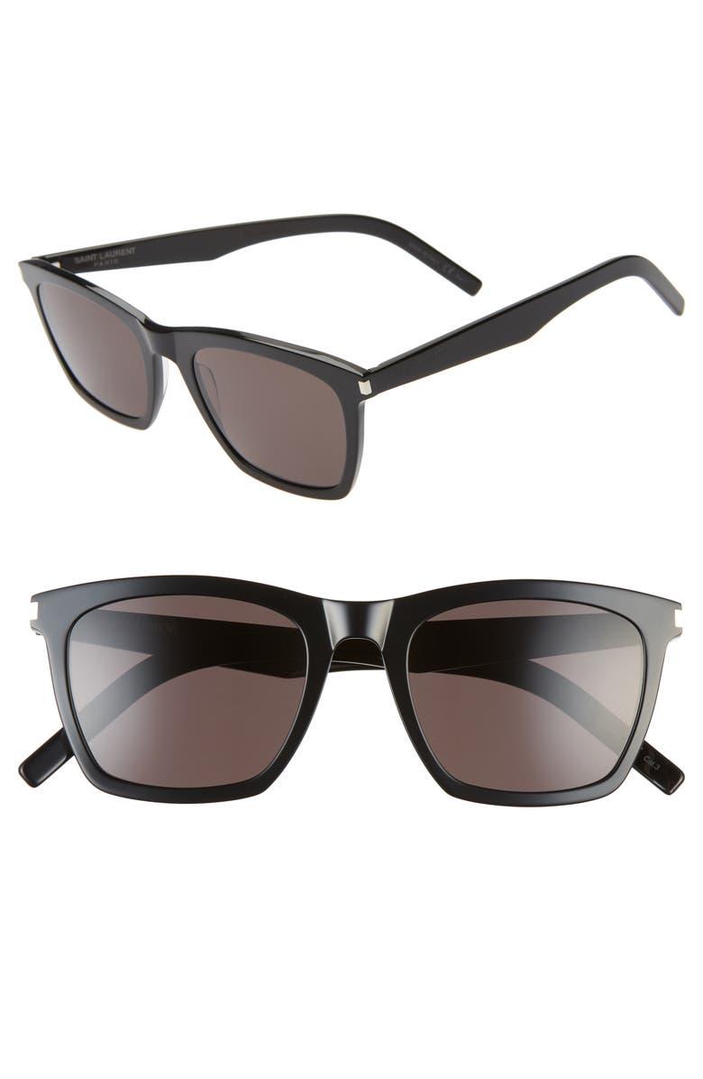 SAINT LAURENT Slim 52mm Square Sunglasses, Main, color, SHINY BLACK