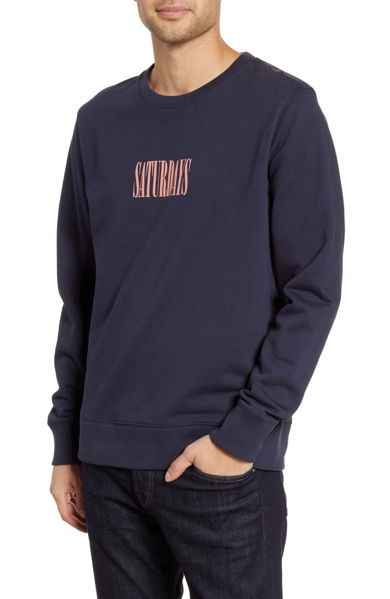 SATURDAYS NYC Bowery Middle Condensed Crewneck Sweatshirt, Main, color, MIDNIGHT
