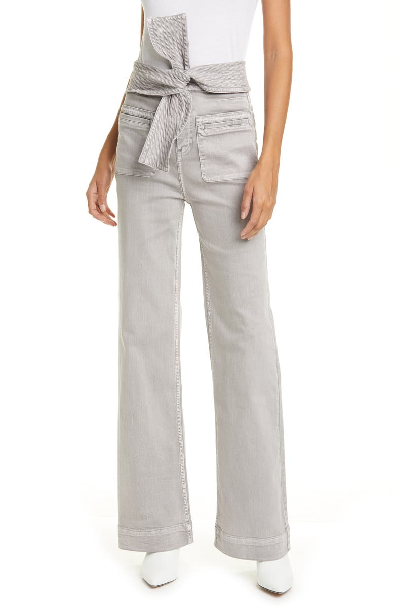 ULLA JOHNSON Wade Tie Waist Tapered Jeans, Main, color, ASH