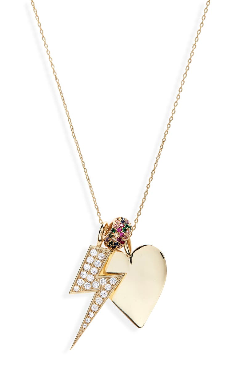 MELINDA MARIA Cubic Zirconia Charm Necklace, Main, color, GOLD/ WHITE CZ/ RAINBOW CZ