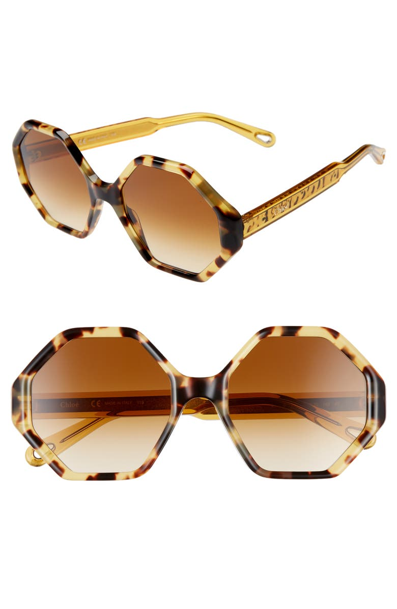 CHLOÉ Willow 55mm Octagonal Sunglasses, Main, color, HAVANA GRADIENT HONEY