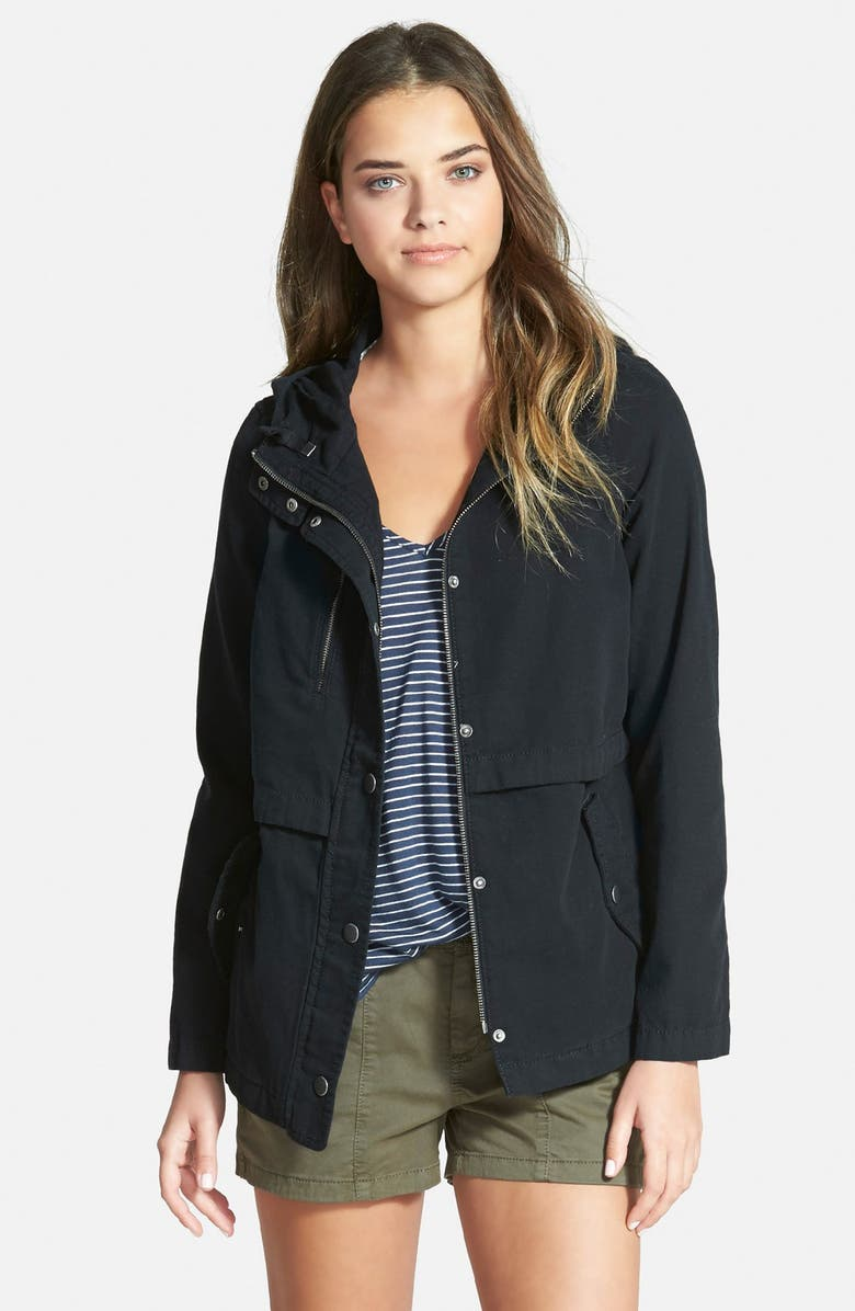 HINGE Hooded Canvas Jacket, Main, color, 001