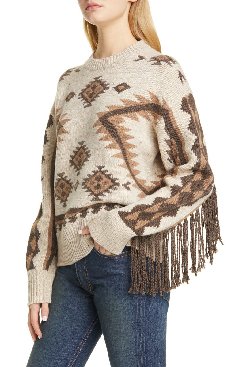 POLO RALPH LAUREN Fringe Merino Wool Sweater, Main, color, TAN MULTI