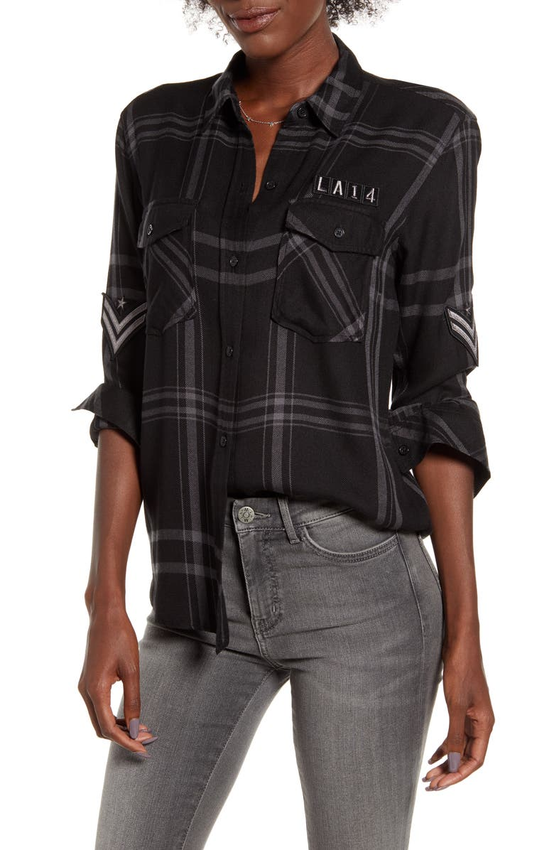 RAILS Pepper Boyfriend Shirt, Main, color, CARBON