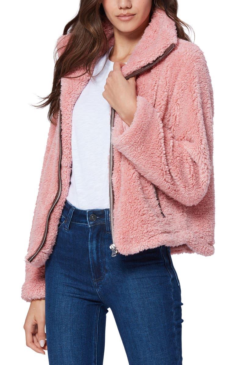 PAIGE Kahlo Faux Fur Teddy Jacket, Main, color, BLUSH