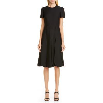 Valentino Pleated Wool & Silk Midi Dress, US / 40 IT - Black