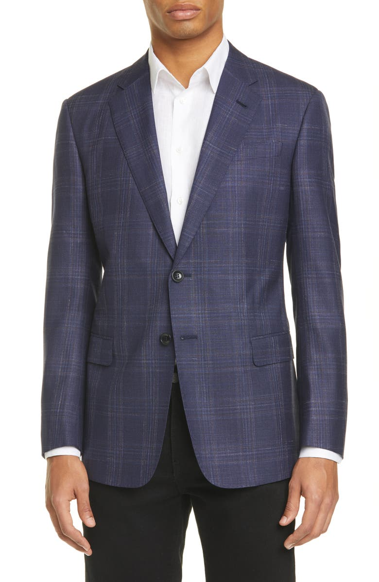 GIORGIO ARMANI Trim Fit Plaid Wool Blend Sport Coat, Main, color, NAVY