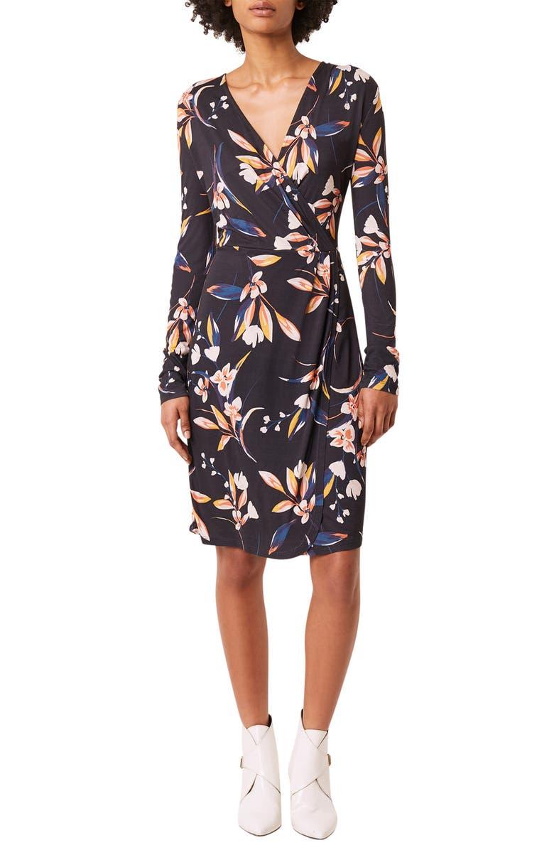FRENCH CONNECTION Raquel Floral Long Sleeve Faux Wrap Dress, Main, color, 400