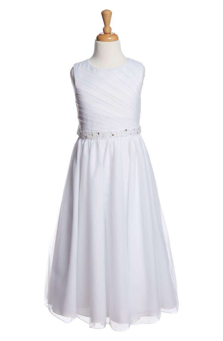 LAUREN MARIE Beaded Communion Dress, Main, color, 100