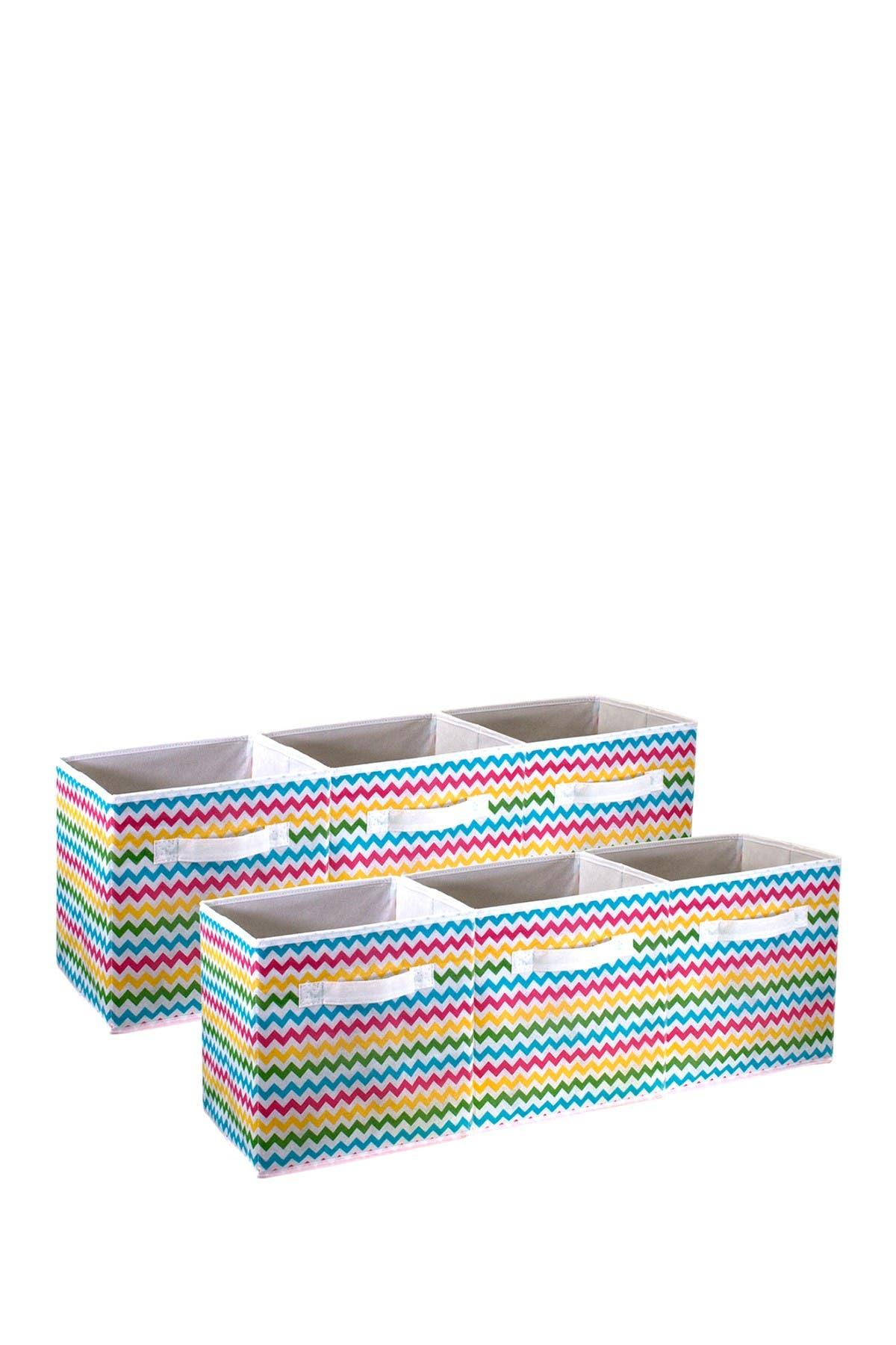 Image of Sorbus Chevron Multi-Colored Pattern Storage Bins - Set of 6