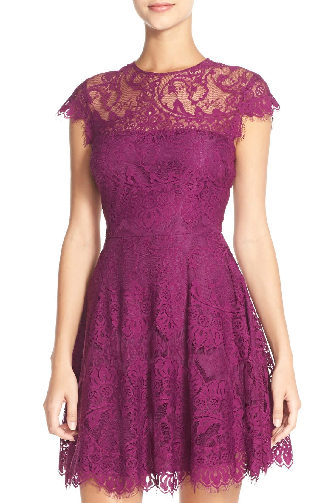,                             Rhianna Open Back Lace Fit & Flare Cocktail Dress,                             Main thumbnail 58, color,                             508