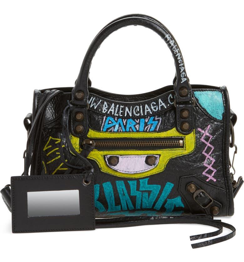 BALENCIAGA Mini City Graffiti Leather Tote, Main, color, 001