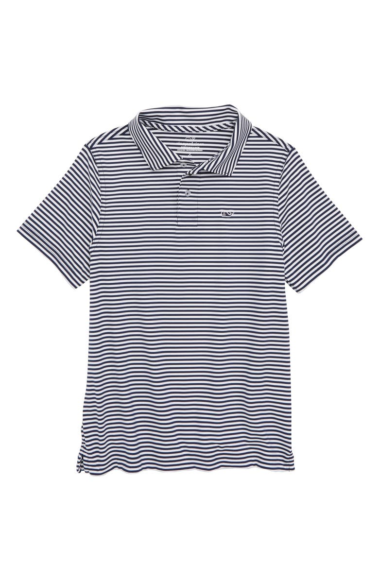 VINEYARD VINES Feeder Stripe Performance Polo, Main, color, DEEP BAY