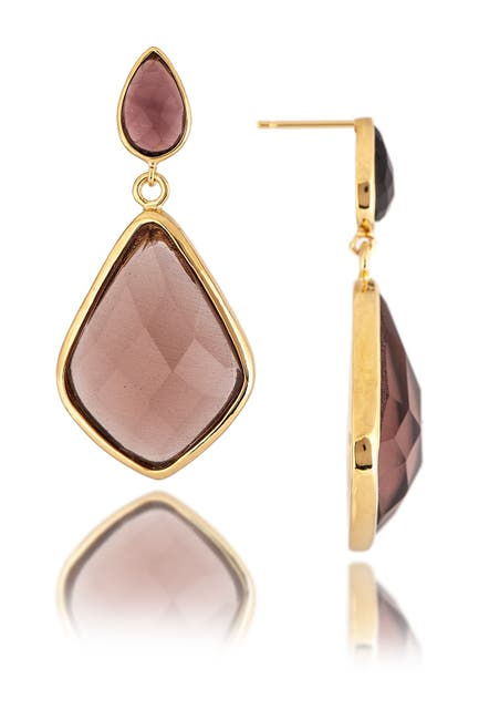 Image of Rivka Friedman 18K Polished Gold Clad Tourmaline Drop Earrings