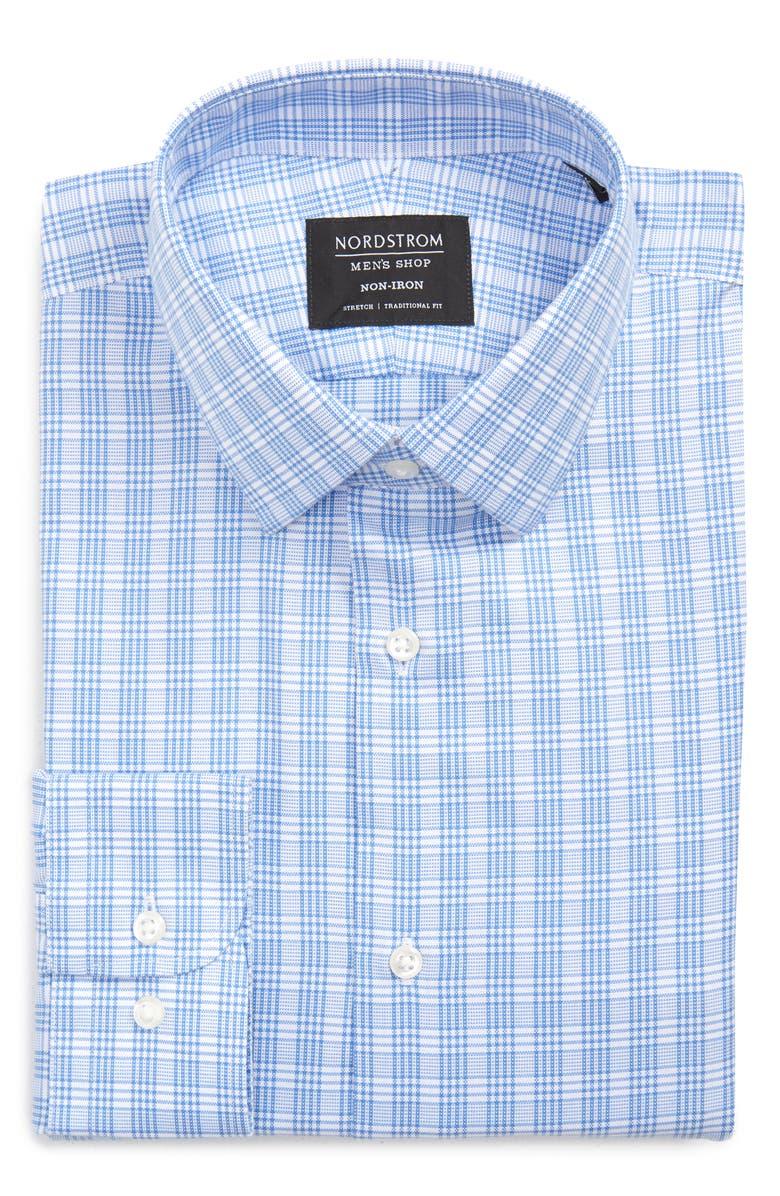 NORDSTROM MEN'S SHOP Traditional Fit Non-Iron Plaid Stretch Dress Shirt, Main, color, BLUE BONNET