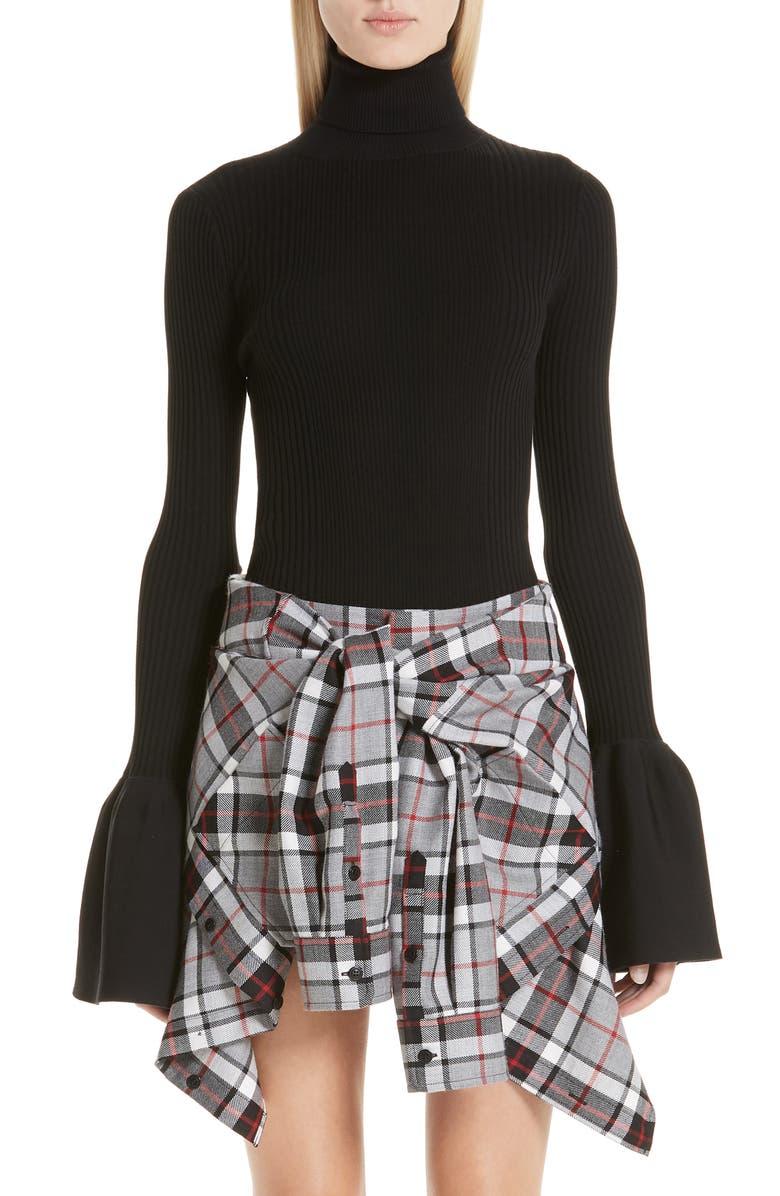 ALEXANDER WANG Flare Cuff Ribbed Sweater, Main, color, 001