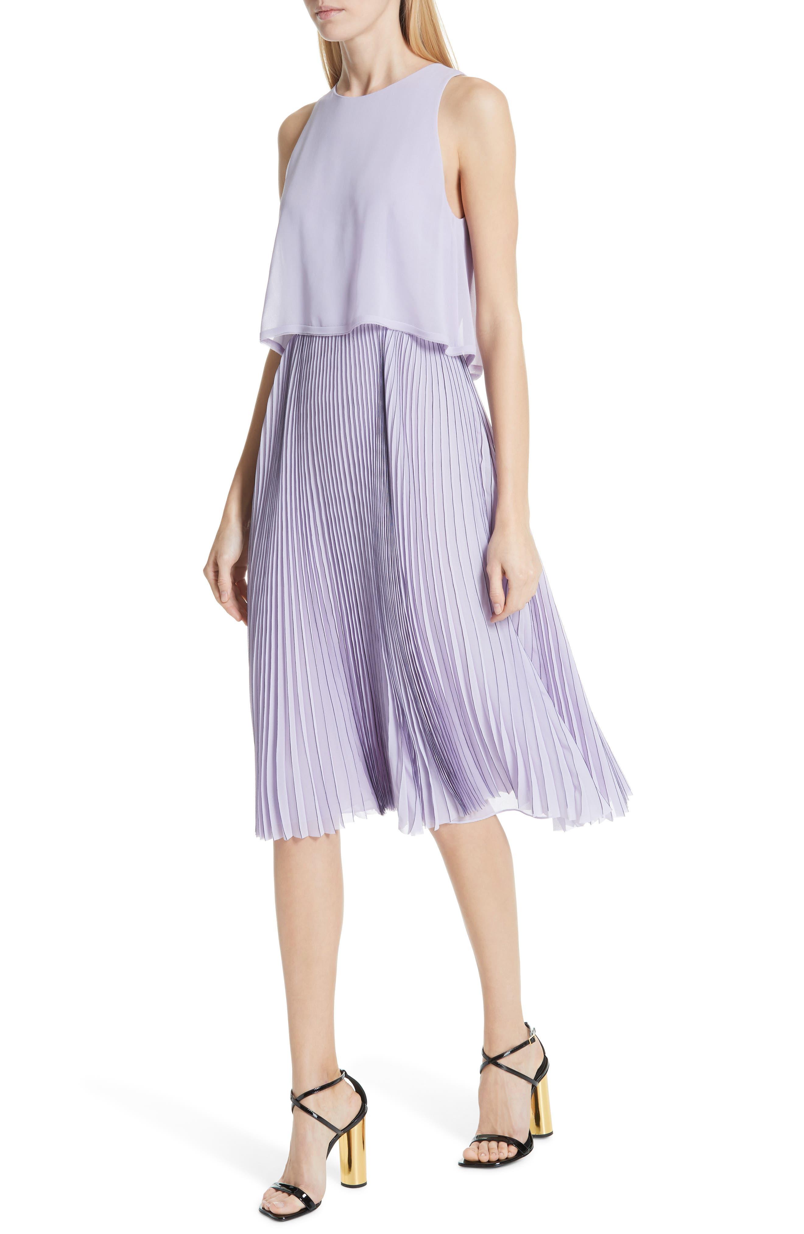 ,                             Pleated Popover Dress,                             Alternate thumbnail 4, color,                             PASTEL MAUVE/ DARK NAVY