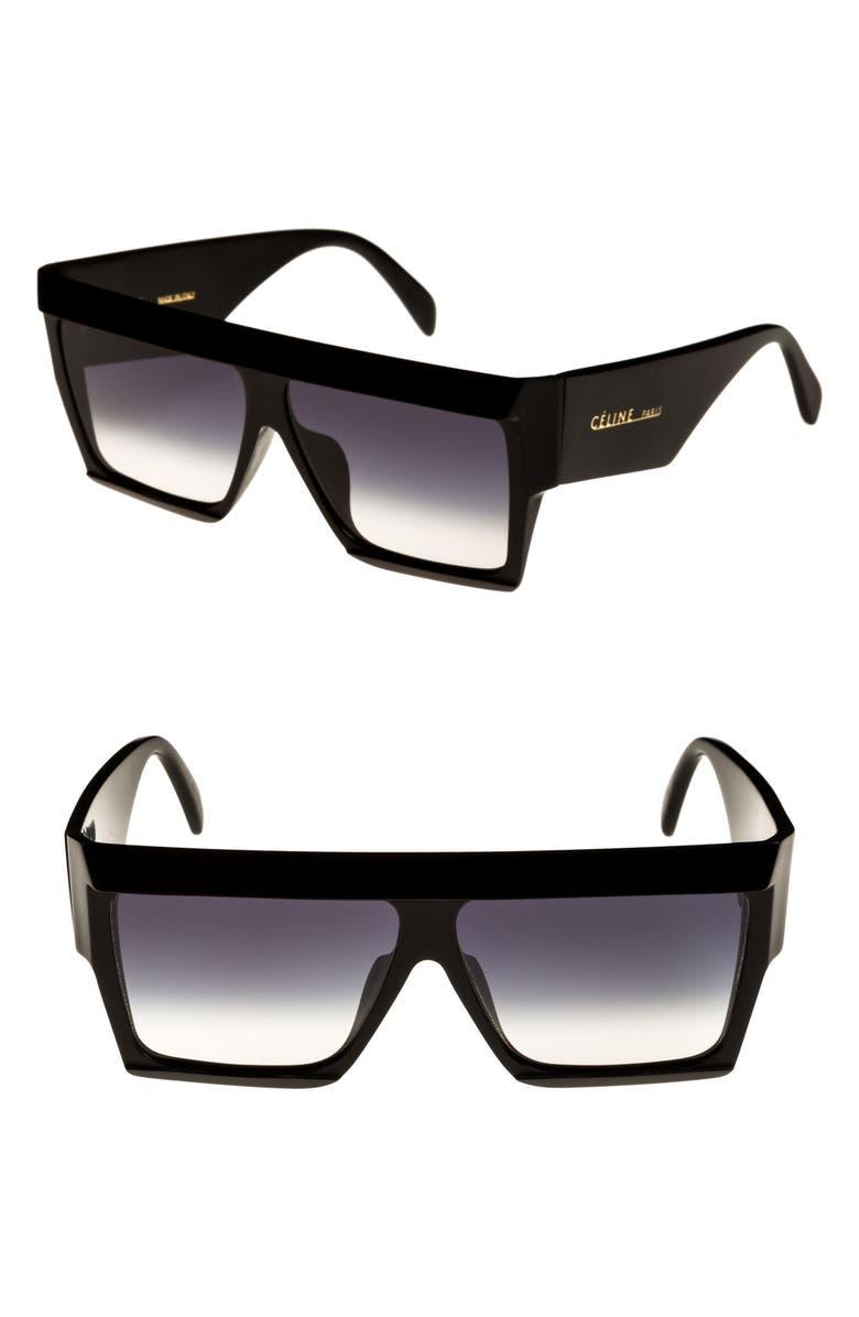 CELINE 60mm Flat Top Sunglasses, Main, color, 001