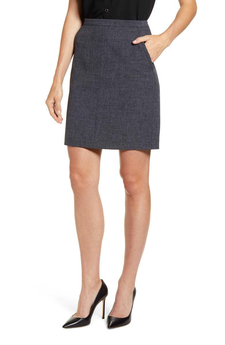 ANNE KLEIN Antonioni Pocket Pencil Skirt, Main, color, NANTUCKET GREY/ ANNE BLACK