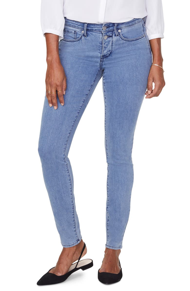 NYDJ Ami Mock Button Fly Skinny Jeans, Main, color, DELRAY