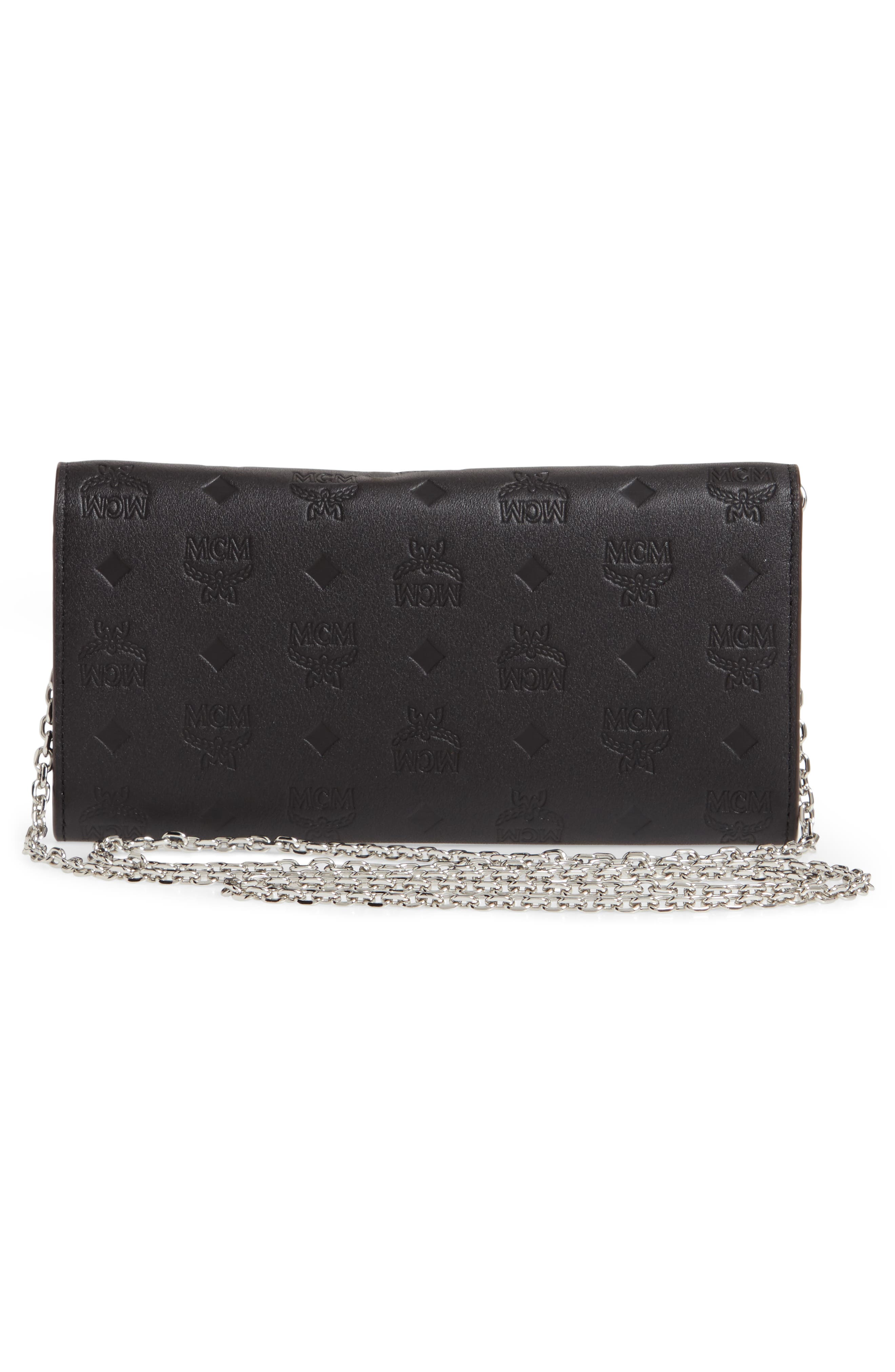 ,                             Patricia Monogram Leather Wallet on a Chain,                             Alternate thumbnail 3, color,                             BLACK