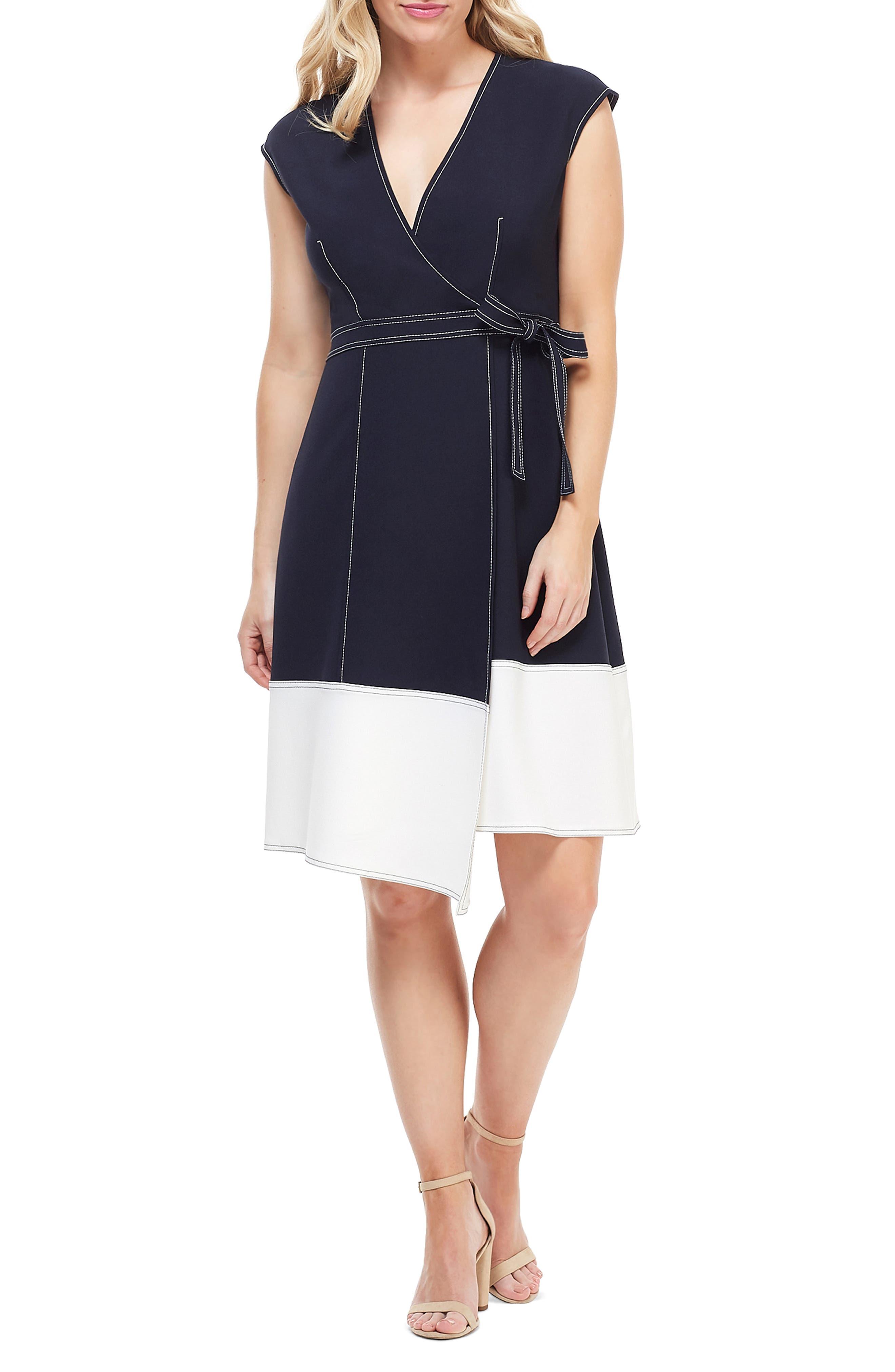 Petite Maggy London Colorblock Faux Wrap Dress, Blue