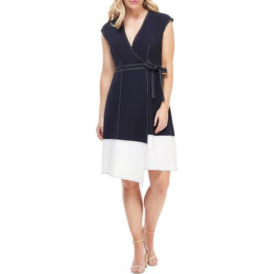 Petite Maggy London Colorblock Faux Wrap Dress, Blue