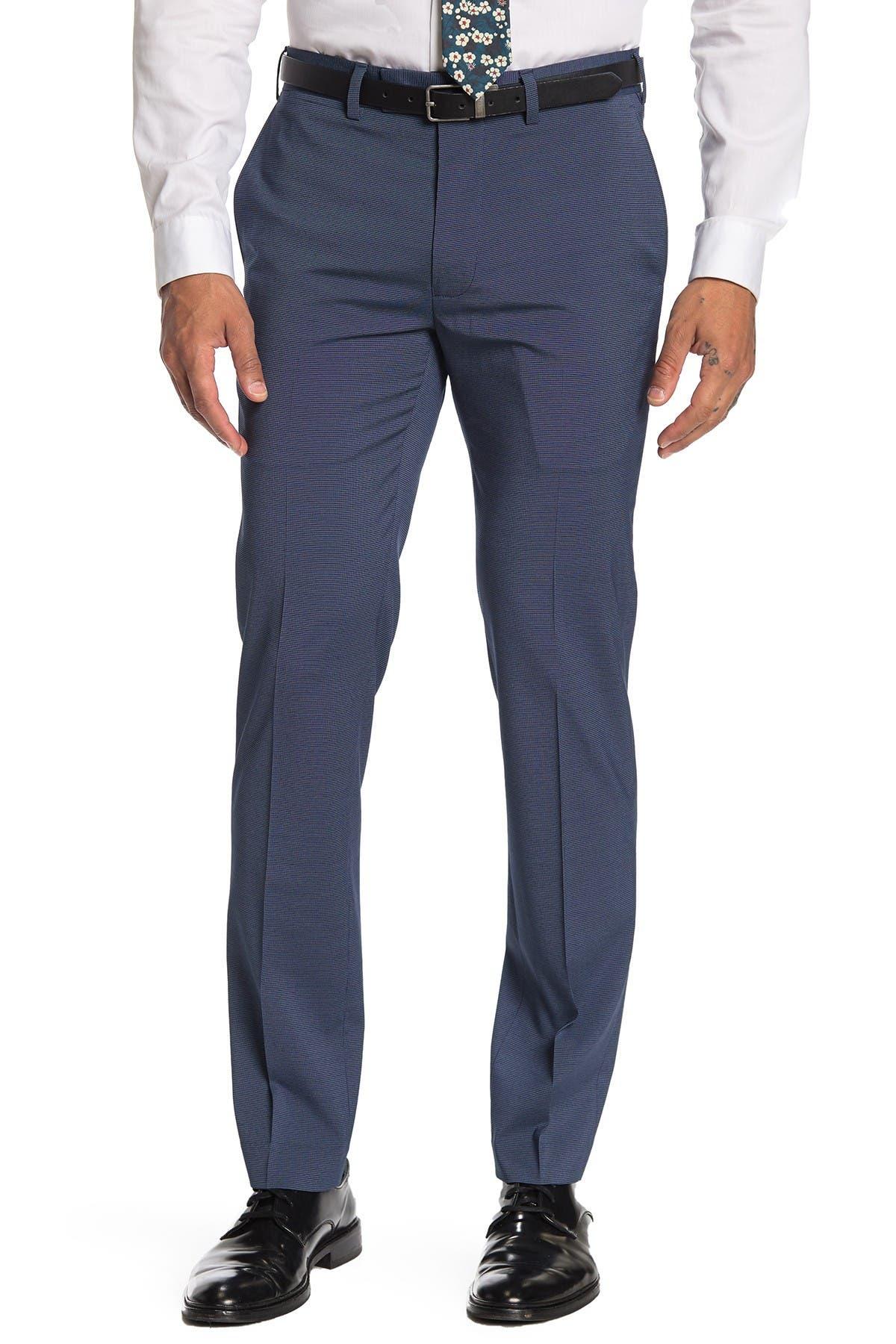 "Image of Louis Raphael Tick Dot Slim Fit Trousers - 30-34"" Inseam"