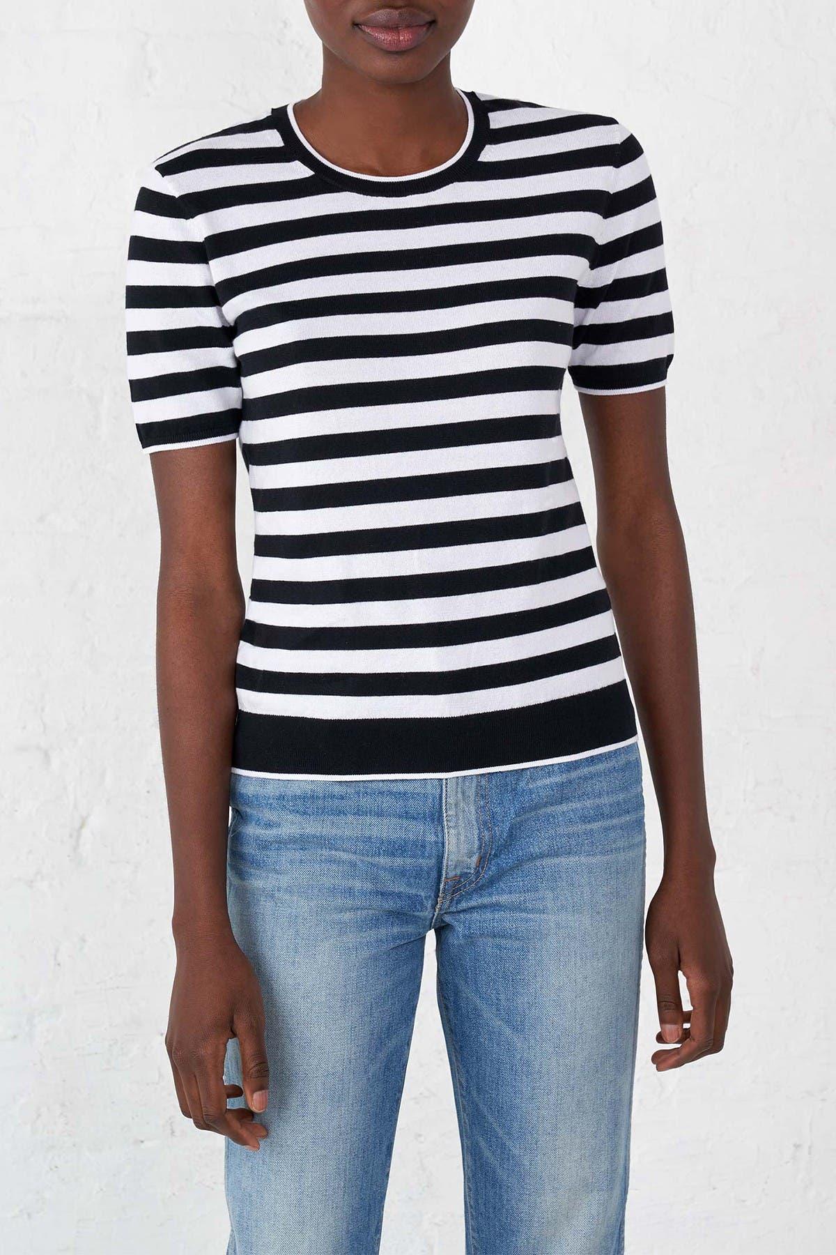 1940s Blouses and Tops LA LIGNE Fitted Stripe Cotton Sweater Tee - Blackwhite at Nordstrom Rack $69.97 AT vintagedancer.com