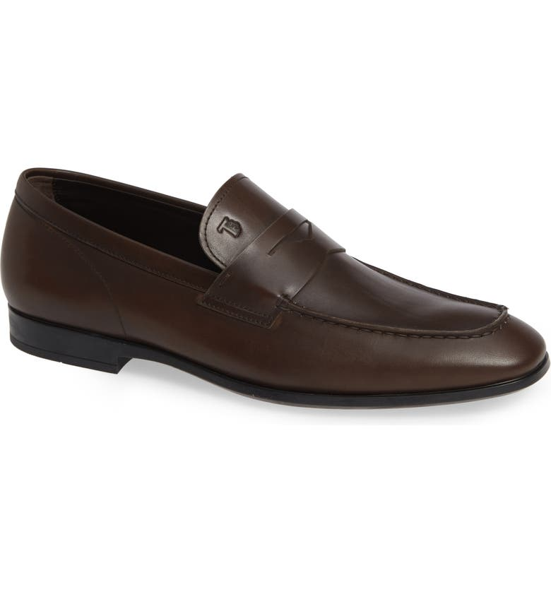 TOD'S Mocassino Penny Loafer, Main, color, DARK BROWN