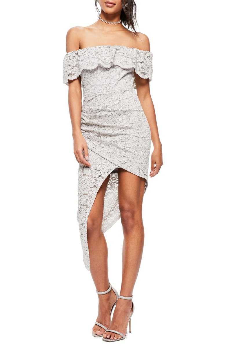 MISSGUIDED Off the Shoulder Asymmetrical Lace Dress, Main, color, 060