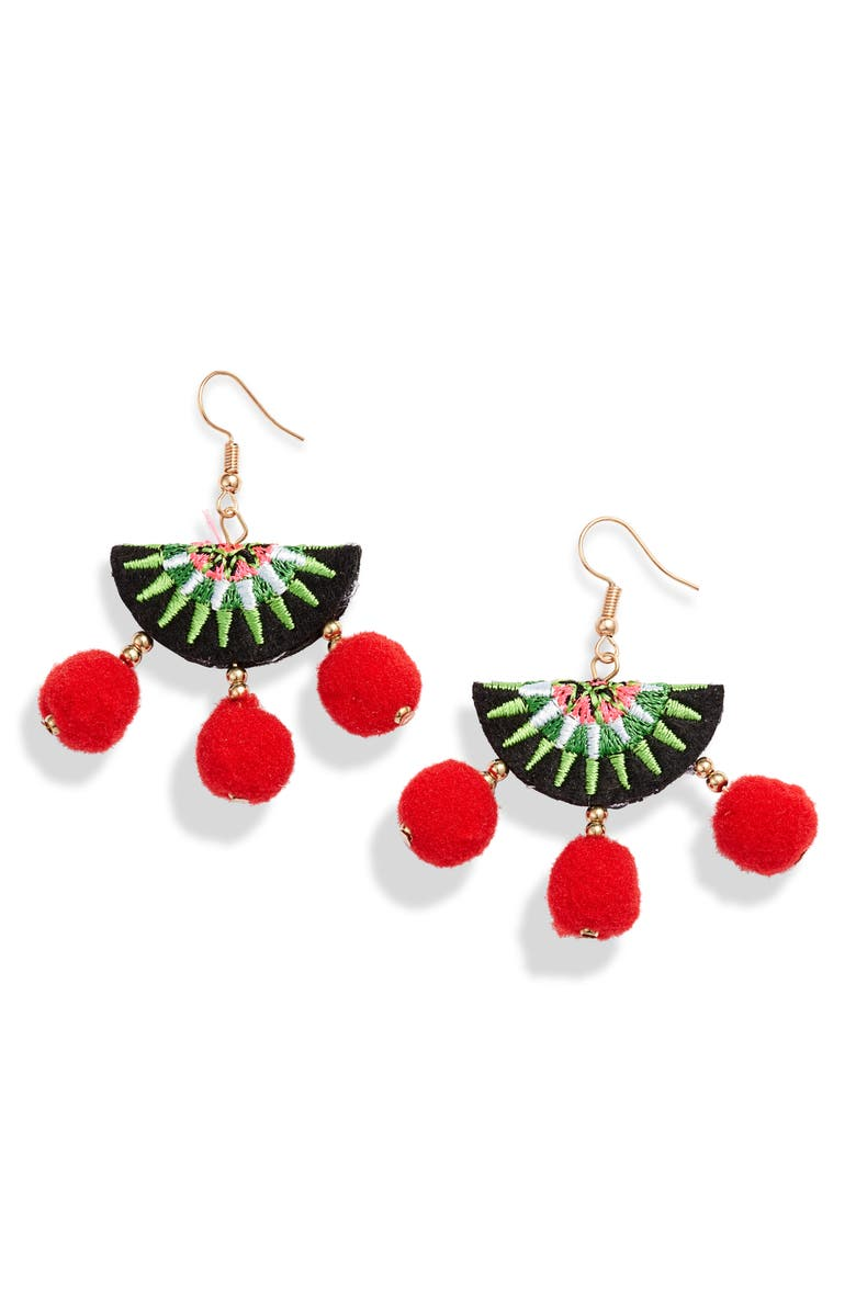 KNOTTY Embroidered Pompom Earrings, Main, color, GREEN/ RED