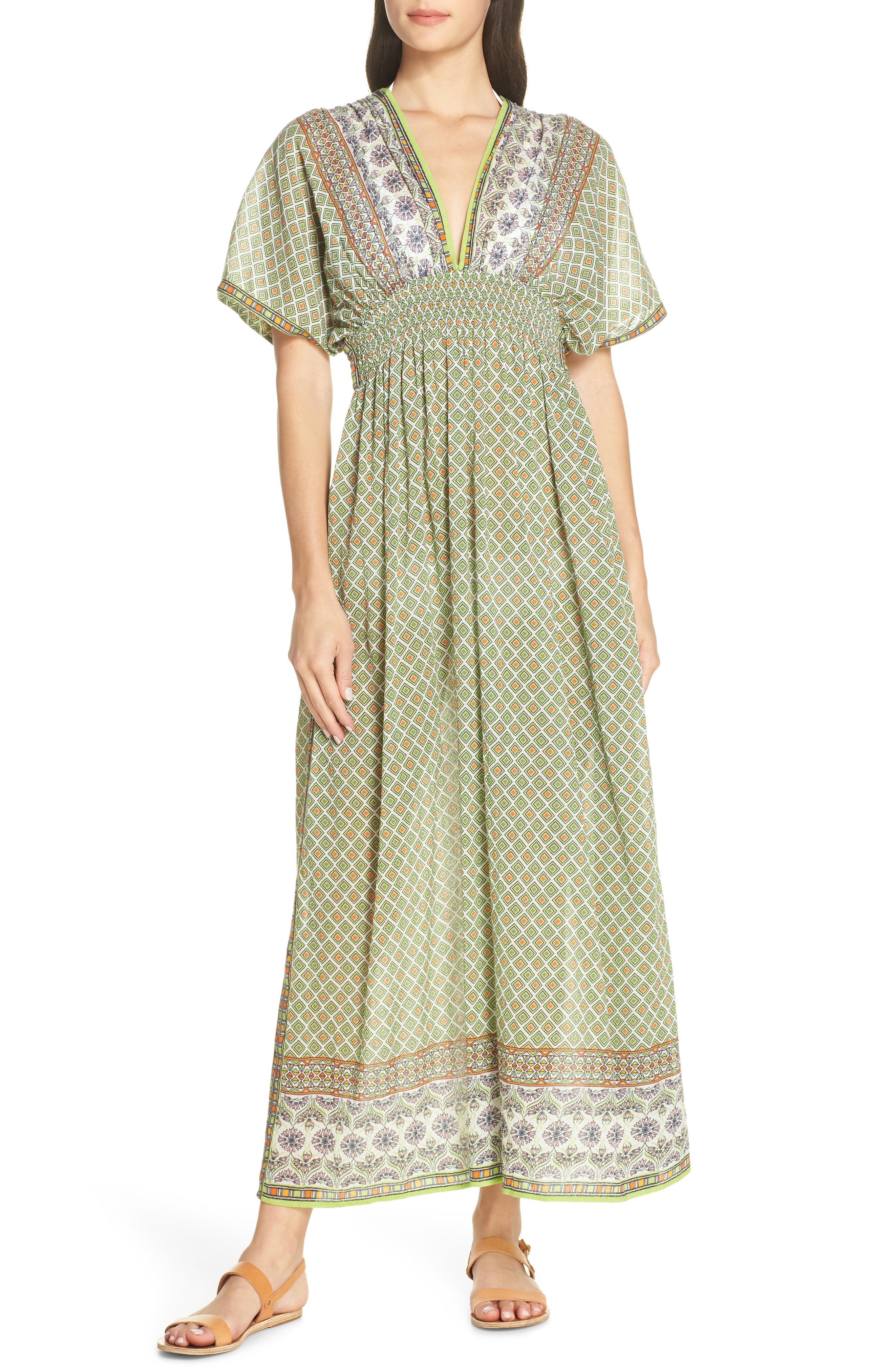 Tory Burch Print Cover-Up Maxi Dress, Green