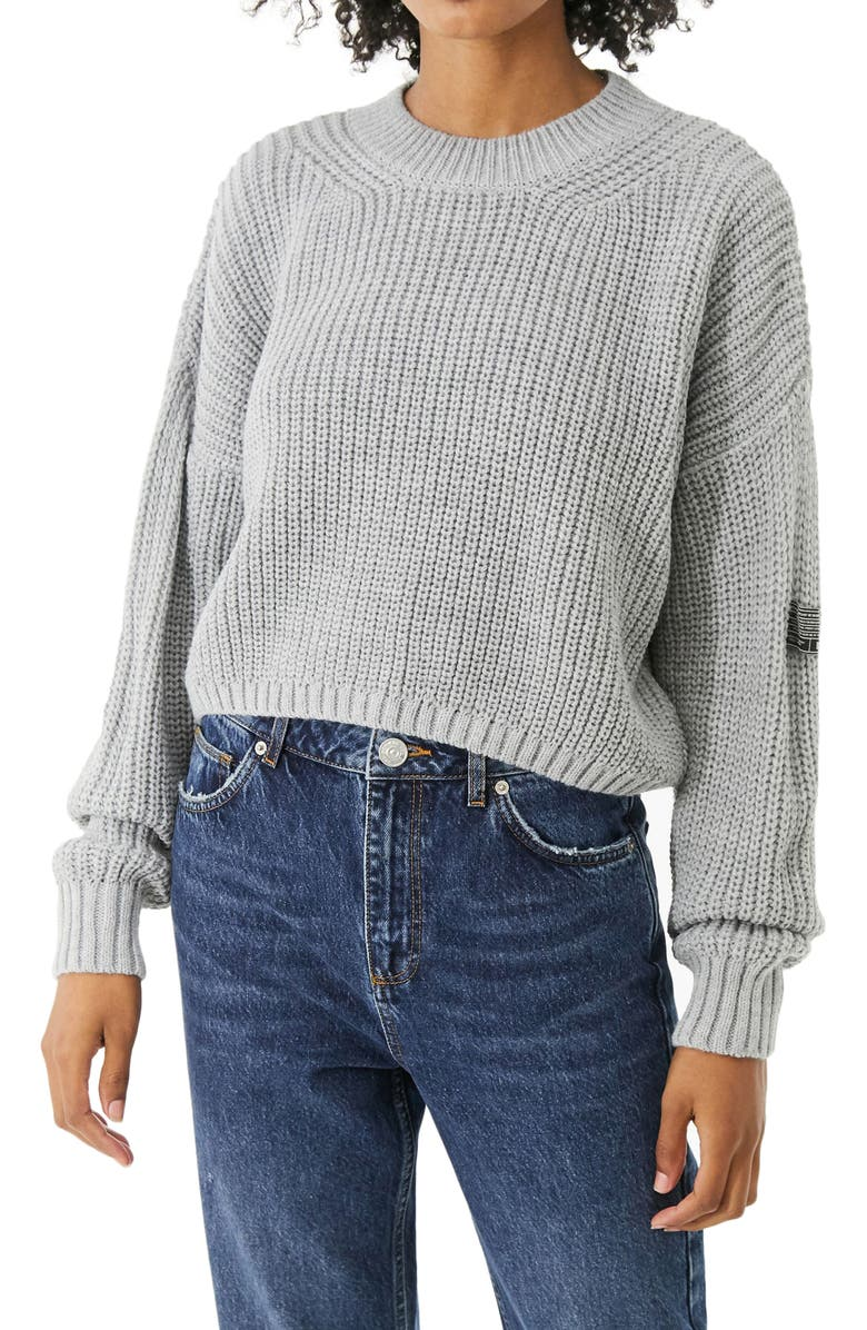 BDG URBAN OUTFITTERS Shaker Stitch Crop Sweater, Main, color, GREY