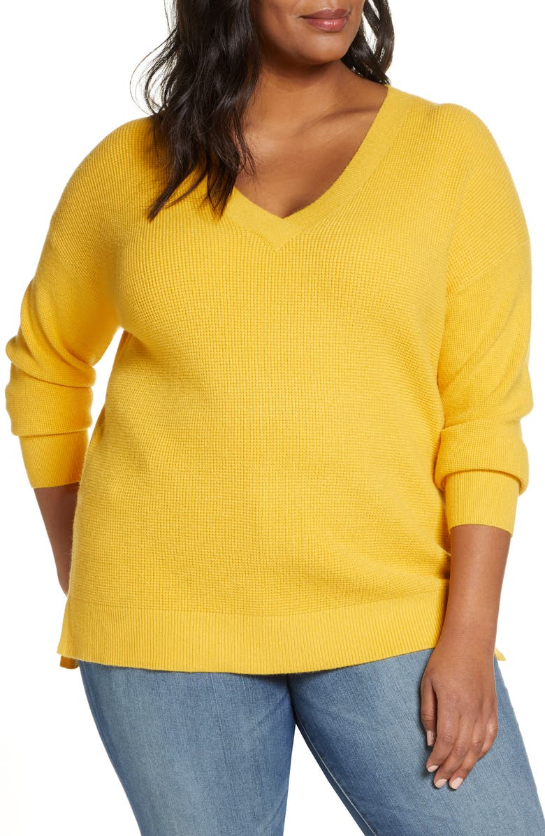 CASLON<SUP>®</SUP> Tuck Stitch V-Neck Sweater, Main, color, YELLOW WHIP