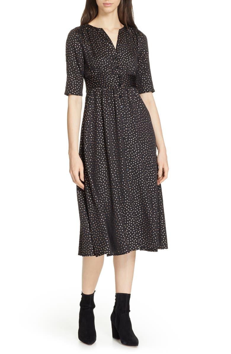 BA&SH Gala Foil Print Midi Dress, Main, color, 001