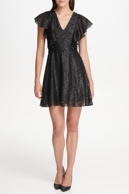 Image of Kensie Flutter Sleeve Fit and Flare Dress