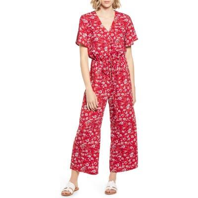 Caslon Floral Crepe Jumpsuit, Red