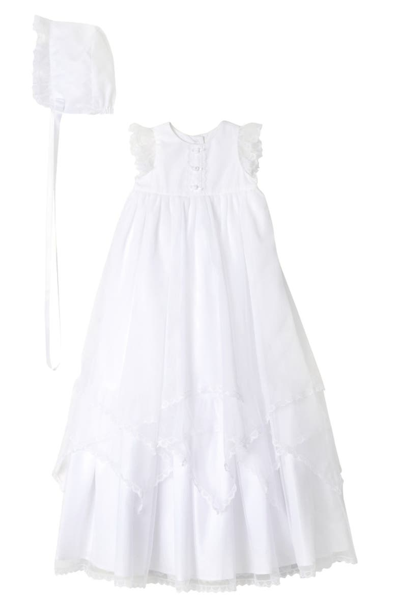 PIPPA & JULIE Christening Gown & Bonnet, Main, color, WHITE
