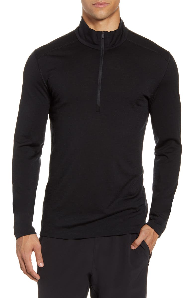 ICEBREAKER 200 Oasis Merino Wool Half Zip Base Layer, Main, color, BLACK
