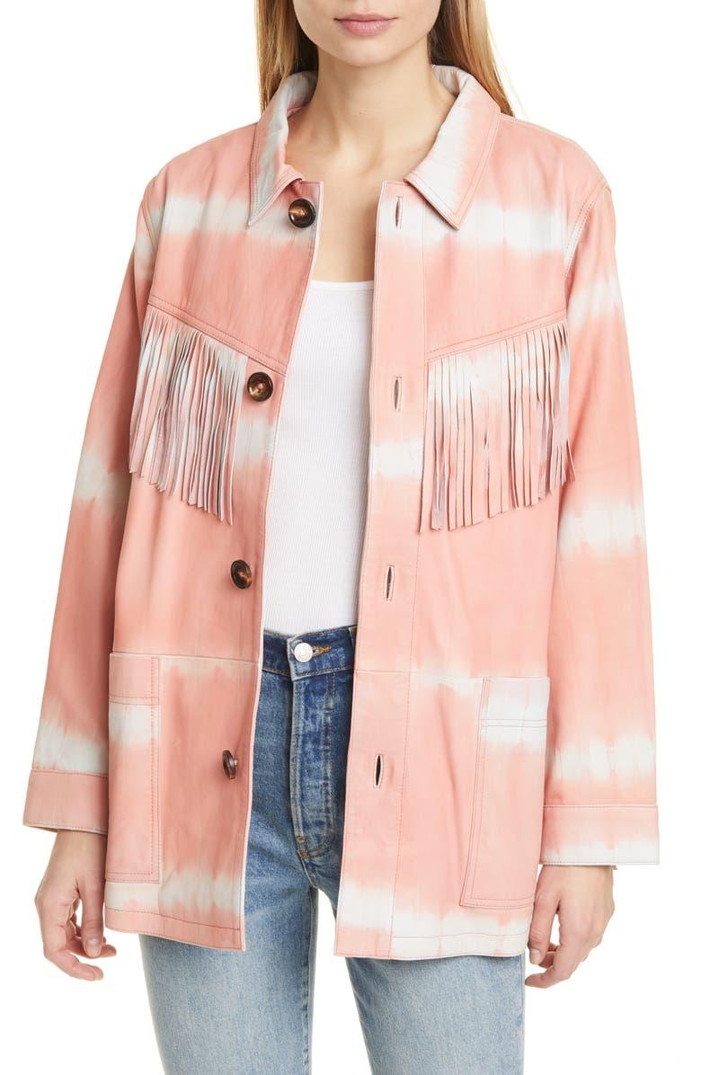 SEA Zelda Tie Dye Fringe Trim Leather Jacket, Main, color, 650