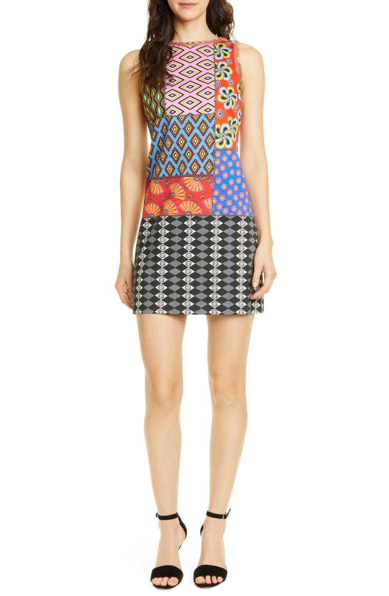 ALICE + OLIVIA x Carla Kranendonk Clyde Shift Dress, Main, color, 001