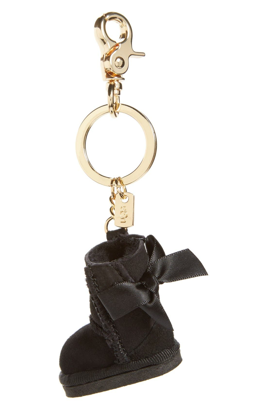 ,                             Australia 'Bailey Bow Boot' Genuine Shearling Bag Charm,                             Main thumbnail 1, color,                             001
