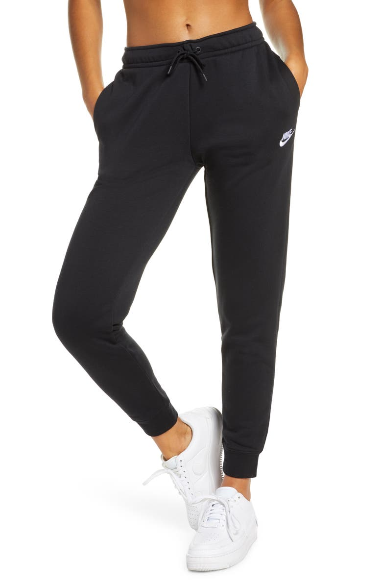 NIKE Sportswear Essential Fleece Pants, Main, color, BLACK/ WHITE