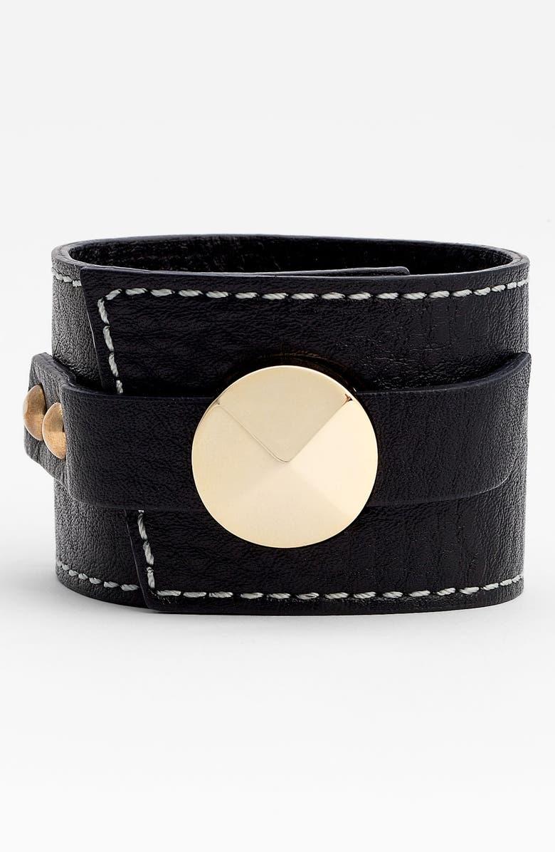 CARA Accessories Leather Wrap Cuff, Main, color, 001