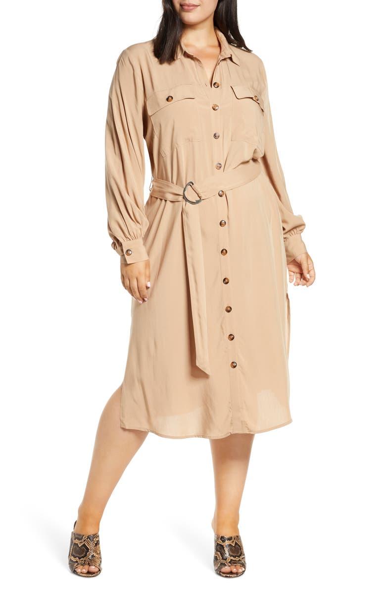 ELOQUII Utility Belted Long Sleeve Midi Shirtdress, Main, color, KHAKI