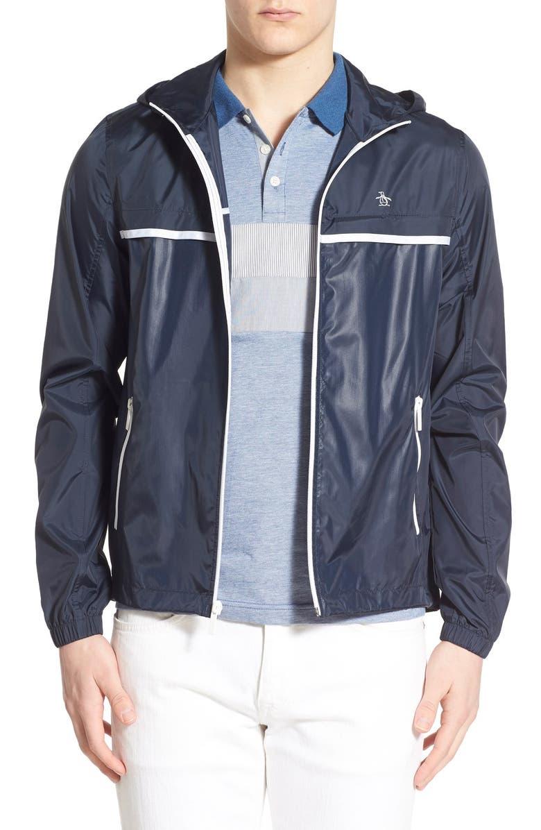 ORIGINAL PENGUIN 'Court Ratner' Packable Zip Hooded Jacket, Main, color, DARK SAPPHIRE
